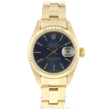 Rolex - Datejust Lady 26 Yellow Gold Riveted Blue Dial