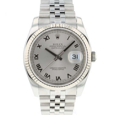 Rolex - Datejust 36 Fluted Jubilee Silver Roman Dial