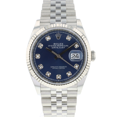 Rolex - Datejust 36 Fluted Jubilee Blue Diamond Dial NEW