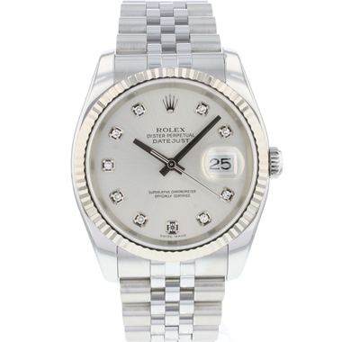 Rolex - Datejust 36 Jubilee Fluted Silver Diamond Dial