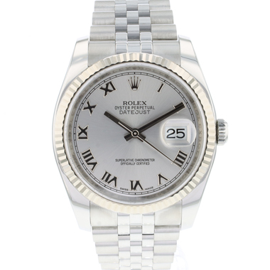 Rolex - Datejust 36 Jubilee/Fluted Silver Roman Dial