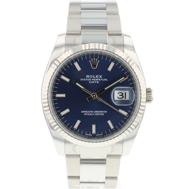 Rolex - Date 34 Blue Dial Fluted NEW