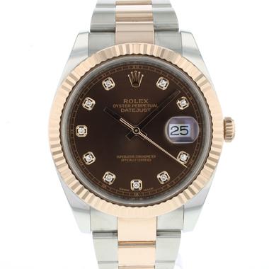 Rolex - Datejust 41 Steel / Everose Gold Choco Diamond Dial