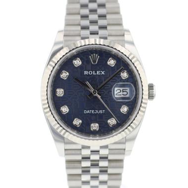 Rolex - Datejust 36 Fluted Jubilee Blue Diamond Logo Dial NEW