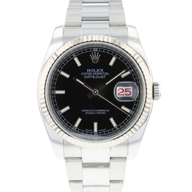 Rolex - Datejust 36 Fluted Black Dial Roulette Date
