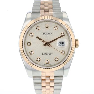 Rolex - Datejust 36 Steel / Everose Silver Diamond Logo Dial
