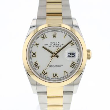 Rolex - Datejust 36 Steel / Gold White Roman Dial NEW