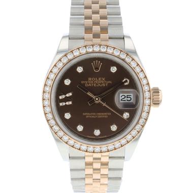 Rolex - Datejust 28 Lady Steel / Everose Gold Diamonds Choco Dial