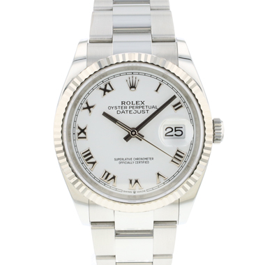 Rolex - Datejust 36 Fluted White Roman Dial