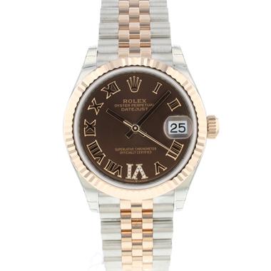 Rolex - Datejust 31 Midsize Steel / Everose Gold Jubilee Choco Diamond Dial NEW In Stickes