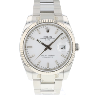 Rolex - Date 34 Fluted White Dial