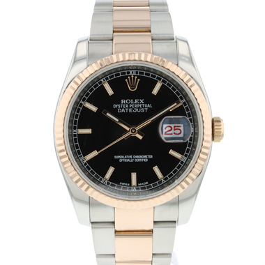 Rolex - Datejust 36 Steel / Everose Black Dial