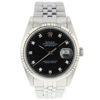 Rolex - Datejust 36 Fluted Jubilee Black Diamond Dial