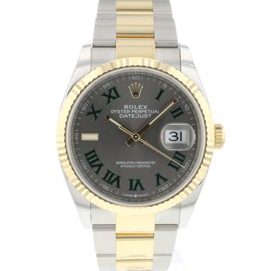 Rolex - Datejust 36 Steel Gold / Fluted Oyster Wimbledon Dial NEW