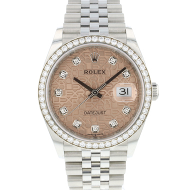 Rolex - Datejust 36 Fluted Jubilee Pink Logo Dial Factory Diamonds NEW