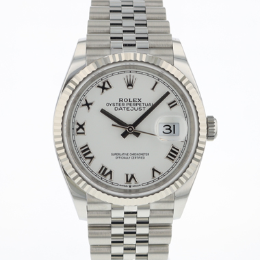 Rolex - Datejust 36 Jubilee/Fluted White Roman Dial 126234 NEW