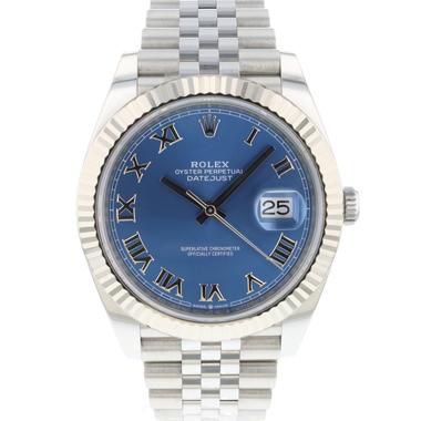 Rolex - Datejust 41 Fluted Jubilee Azzuro Blue Roman Dial