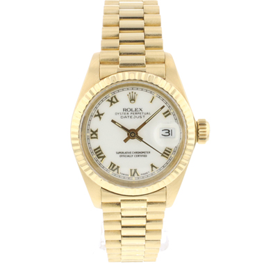Rolex - Datejust Lady 26 Yellow Gold President White Dial