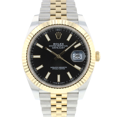 Rolex - Datejust 41 Steel / Gold / Fluted / Jubilee Black Dial NEW
