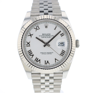 Rolex - Datejust 41 Fluted Jubilee White Roman Dial NEW