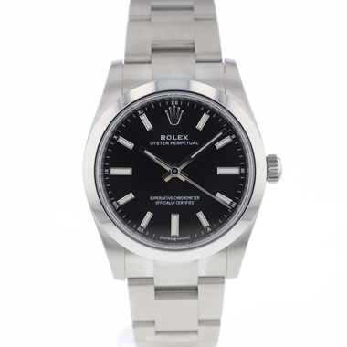 Rolex - Oyster Perpetual 34 Bright Black Dial NEW