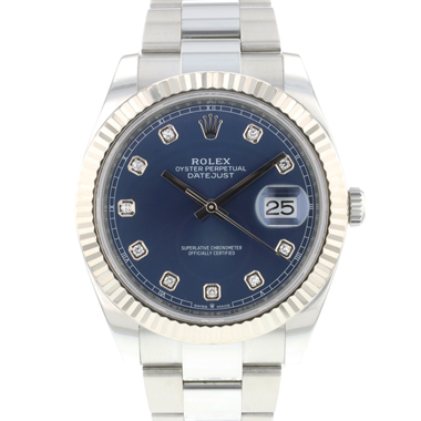 Rolex - Datejust 41 Steel Fluted Oyster Blue Diamond Dial